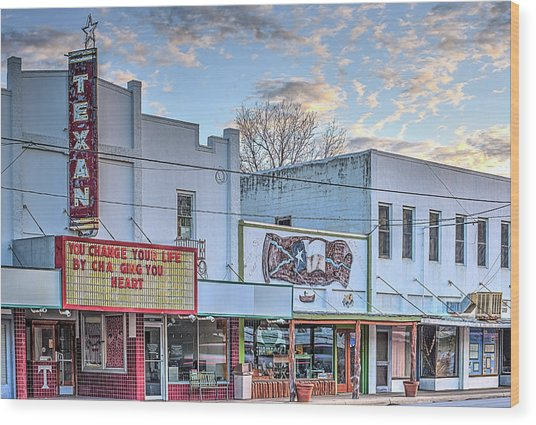 Downtown Junction Texas Wood Print by JC Findley