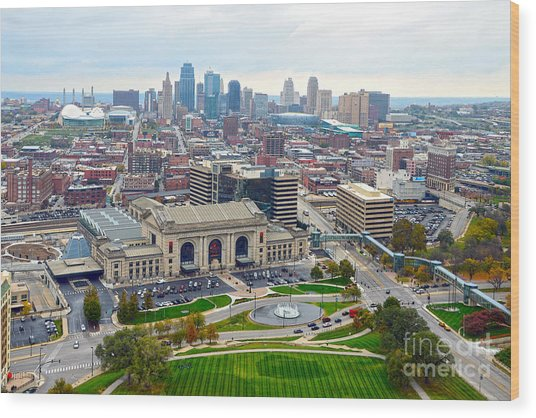 Downtown Kansas City From Liberty Memorial Tower Wood Print