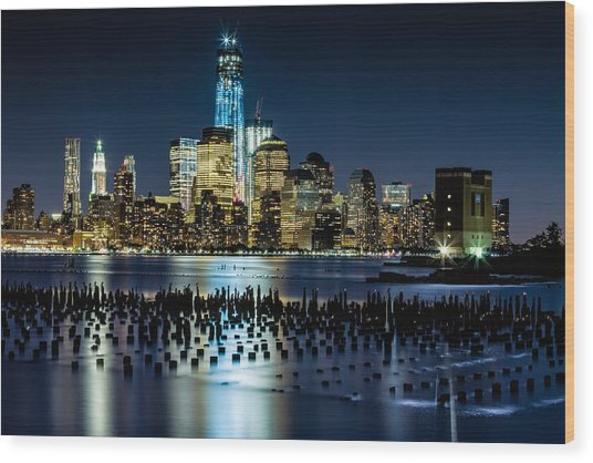 Downtown Manhattan And Old Pier Remains Wood Print