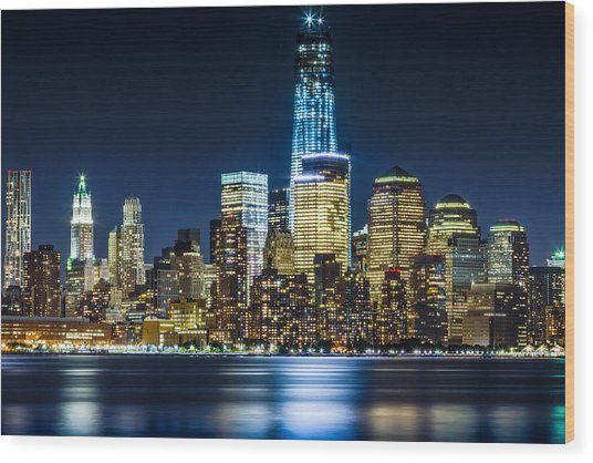 Downtown Manhattan From Hoboken Wood Print