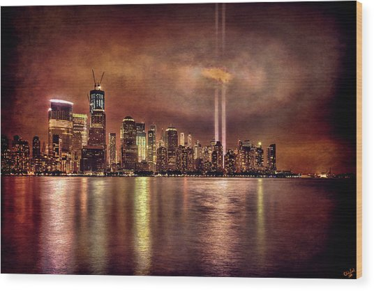 Downtown Manhattan September Eleventh Wood Print