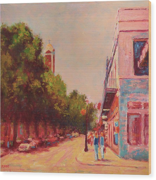 Downtown Mobile On Dauphin By Cathedral Park Wood Print