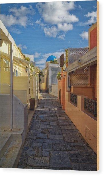 Downtown Oia Santorini Wood Print