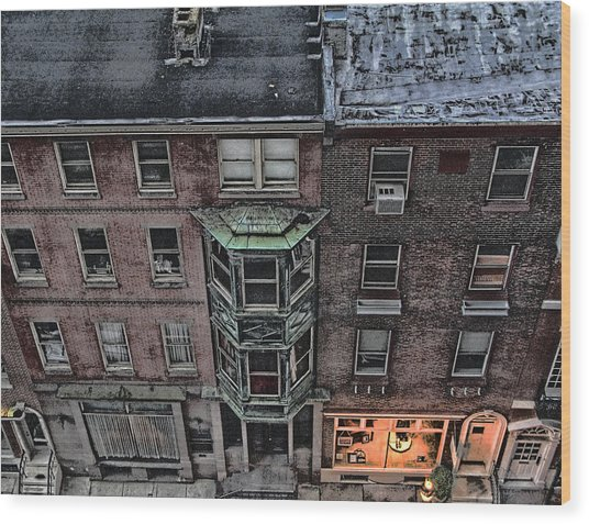 Downtown Philadelphia Building Wood Print by Anthony Rapp