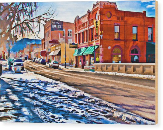 Downtown Salida Hotels Wood Print