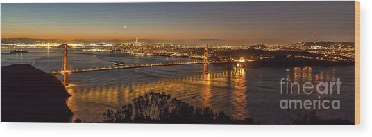 Downtown San Francisco And Golden Gate Bridge Just Before Sunris Wood Print