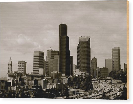 Downtown Seattle Wood Print by Sonja Anderson