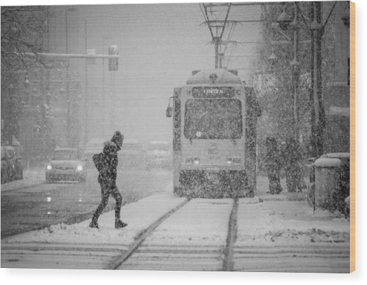 Downtown Snow Storm Wood Print