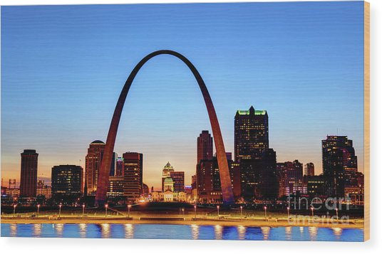 Downtown St Louis, Missouri Skyline Wood Print by Denis Tangney Jr