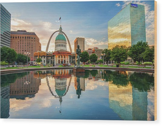 Downtown St. Louis Skyline Morning Sunrise Reflections Wood Print