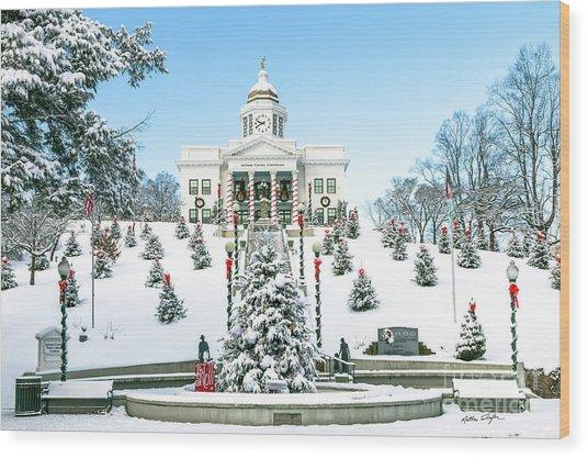 Downtown Sylva Courthouse Christmas 2016 Wood Print