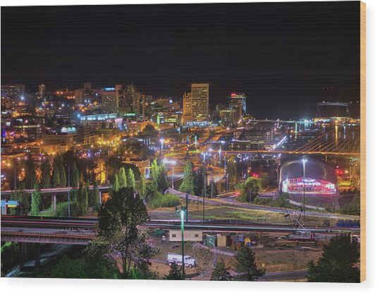 Downtown Tacoma Night Wood Print