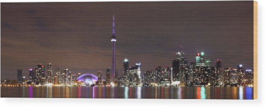 Downtown Toronto - Lit Up Wood Print