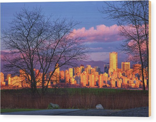 Downtown Vancouver Wood Print by Paul Kloschinsky