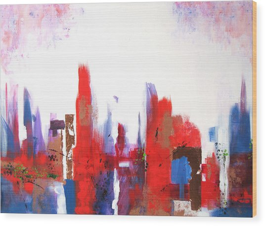 Downtown Wood Print by Vicki Brevell