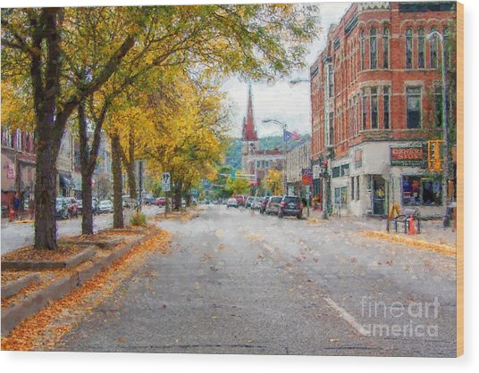 Wood Print featuring the photograph Downtown Winona Painting Effect by Kari Yearous