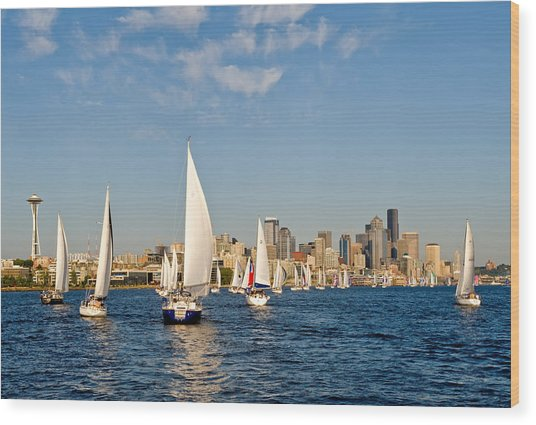 Downtwon Seattle Waterfront Wood Print by Tom Dowd