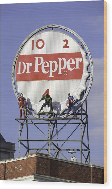 Dr Pepper And The Avengers Wood Print