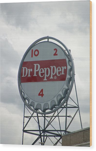 Dr. Pepper Sign - Roanoke Virginia Wood Print