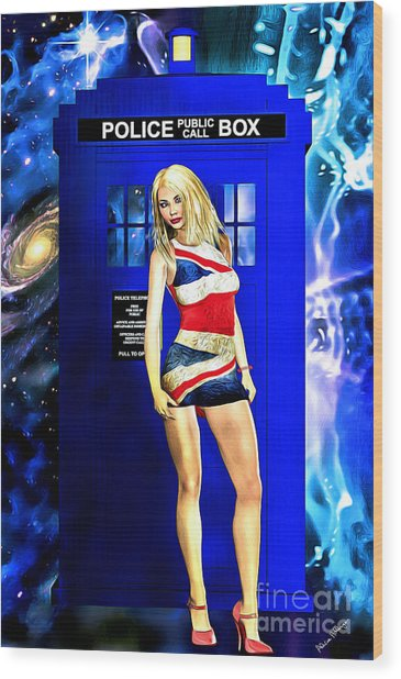 Doctor Who - Tardis And Rose Tyler Wood Print