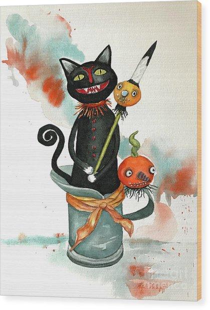 Dracula Vintage Cat Wood Print