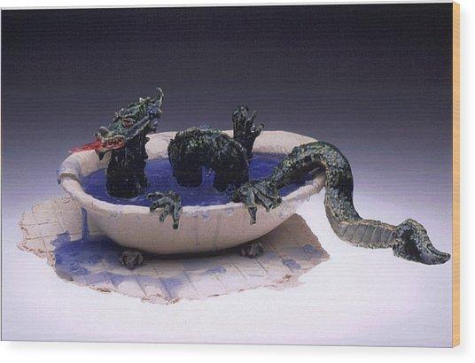 Dragon Bath Wood Print by Doris Lindsey