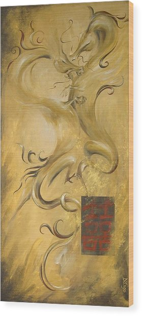 Dragon Double Happiness Wood Print