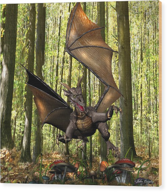 Dragon 'edwin' - Dropping In For A Snack Wood Print