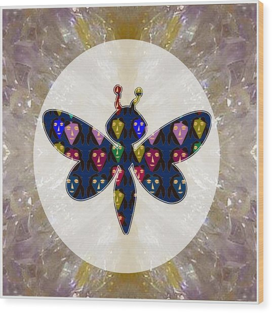 Dragon Fly Cute Painted Face Cartons All Over Donwload Option Link Below Personl N Commercial Uses Wood Print