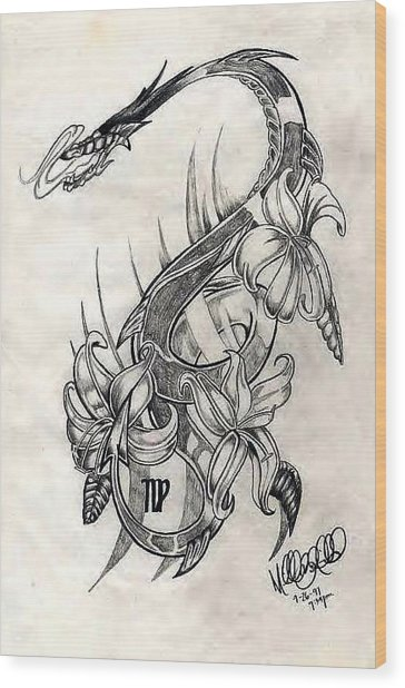 Wood Print featuring the drawing Dragon by Michelle Dallocchio