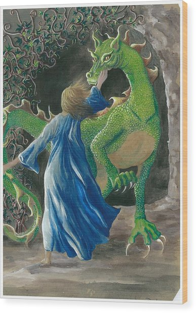 Dragon Princess 3 Wood Print by Sally Balfany