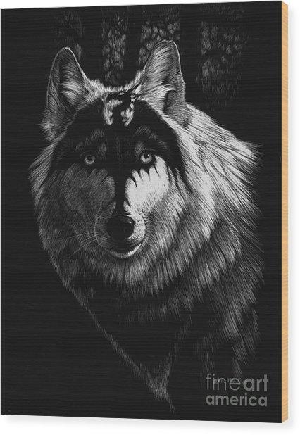Dragon Wolf Wood Print
