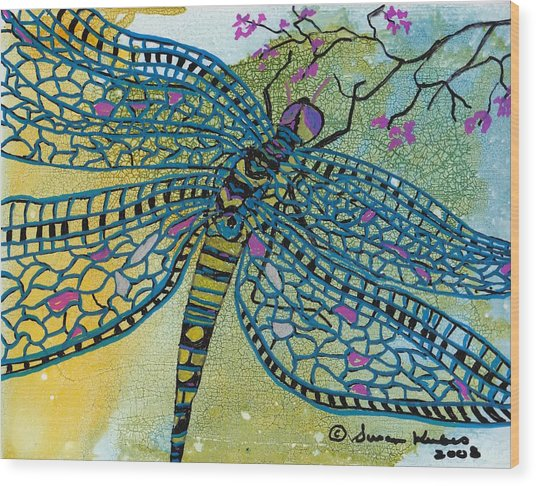Dragonfly And Cherry Blossoms Wood Print by Susan Kubes
