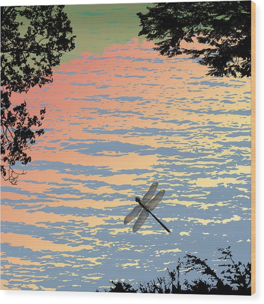 Dragonfly By The Lake Wood Print by Marian Federspiel