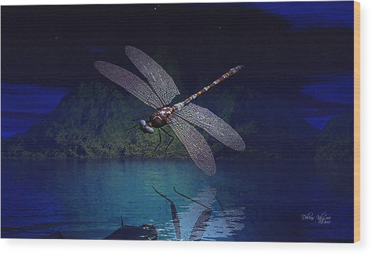 Dragonfly Night Reflections Wood Print