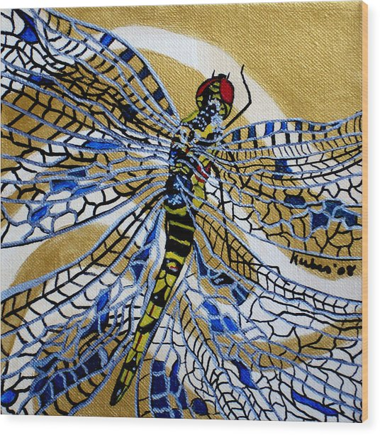 Dragonfly On Gold Scarf Wood Print by Susan Kubes