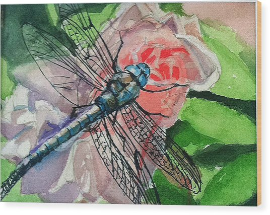 Dragonfly On Rose Wood Print