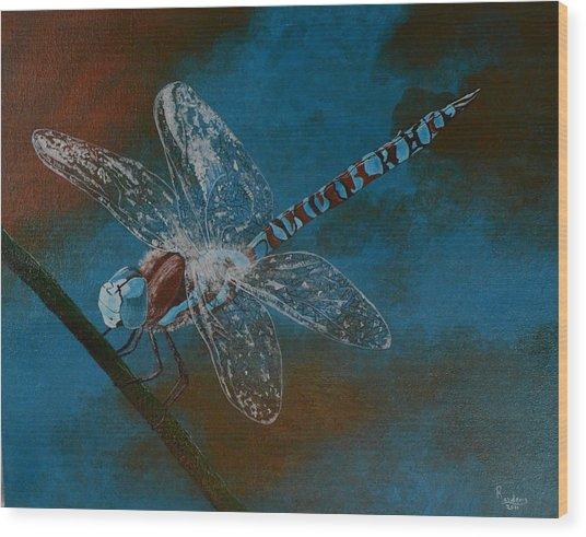 Dragonfly Wood Print by Roberta Landers