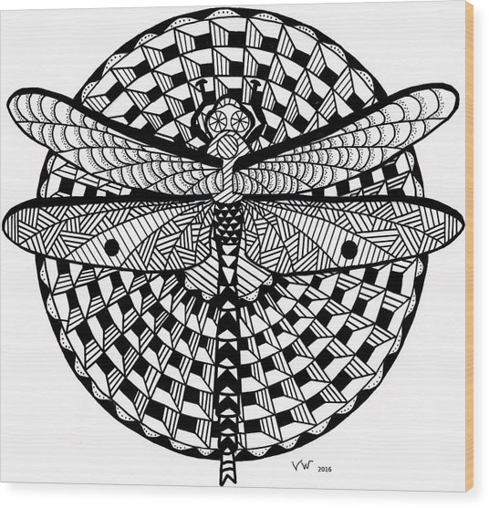 Wood Print featuring the drawing Dragonfly by Vicki Winchester