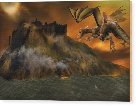 Dragons Return To Lost Island Wood Print by Emma Alvarez
