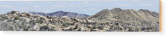Dragoon Mountains Panorama Wood Print by Sharon Broucek