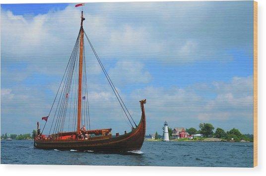The Draken Passing Rock Island Wood Print