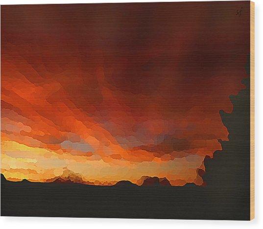 Wood Print featuring the digital art Drama At Sunrise by Shelli Fitzpatrick