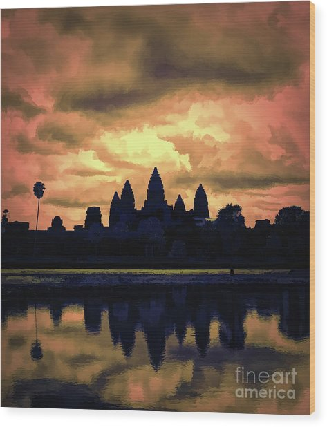 Dramatic Angkor Wat  Wood Print