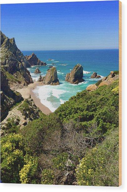 Dramatic Coastline And Beach - Portugal Wood Print by Connie Sue White