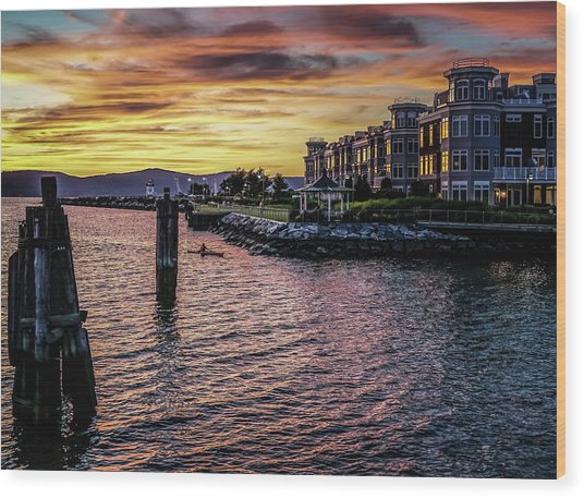 Dramatic Hudson River Sunset Wood Print