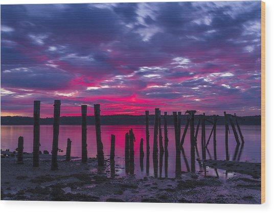 Dramatic Maine Sunrise Wood Print