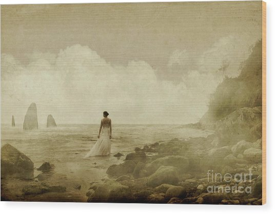 Dramatic Seascape And Woman Wood Print