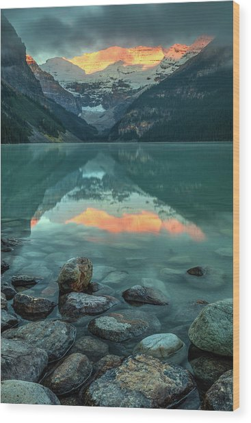 Wood Print featuring the photograph Dramatic Sunrise At Lake Louise by Pierre Leclerc Photography
