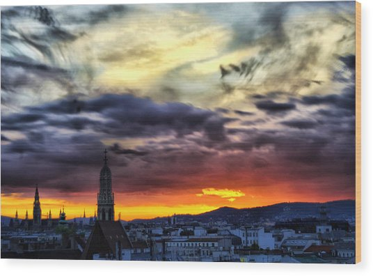 Dramatic Sunset Clouds Over Vienna Wood Print